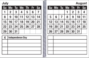 This is the monthly page of the EZ2See Calendar
