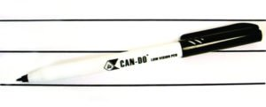Image of a Can Do Pen, a bold black pen with a cap. Sitting on lines that the pen drew.