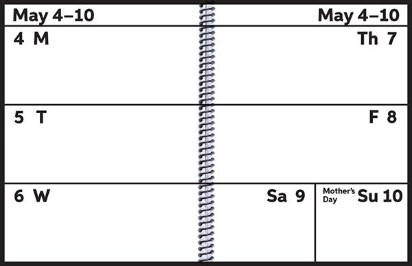 image of the weekly pages in the EZ2See Calendar