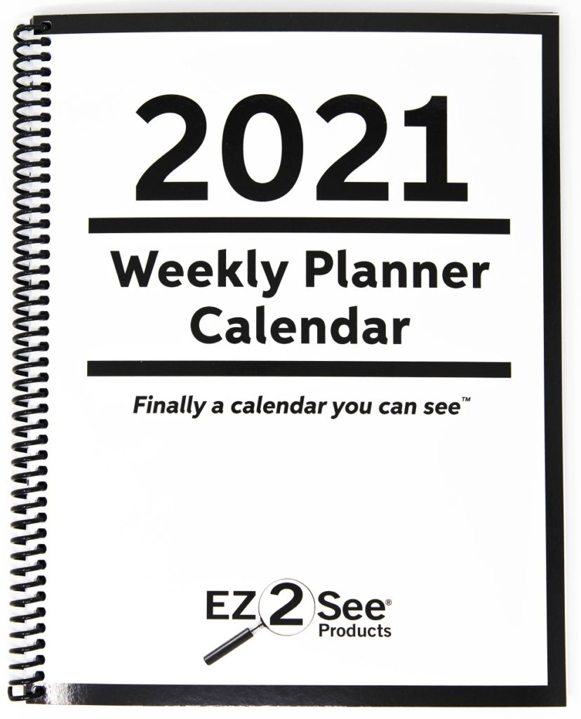 EZ2See large print weekly calendar cover for 2021