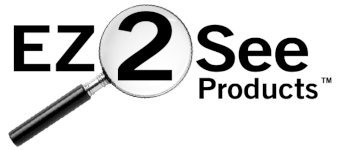 EZ2See Products Logo. EZ2See written with old fashioned round magnifying glass positioned over the number 2, making it look larger.
